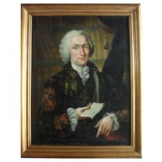 Christian Friedrich SPINDLER (1742-) Portrait of of Charles-Simon Favart dated 1761. Oil Painting.