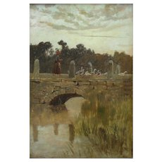 Hilda MONTALBA (1840 -1919) Girl with Geese c1880 Oil Painting