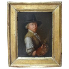 Portrait of an Artist English School c1790 Oil Painting
