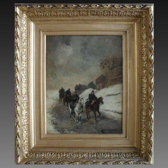 Louis Émile BENASSIT (1833-1902) French Cavalry in the Snow c1870