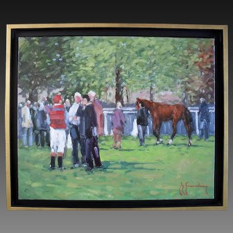 Guy Legendre (b1946) French Post Impressionist Oil Painting Deauville Racecourse