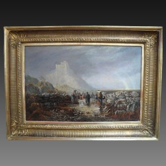 Henry HILTON (act.1879-1888) Harlech Castle North Wales Oil Painting