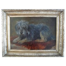 Victorian Portrait of A Dog c1900 Oil Painting