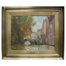 "James W. MILLIKEN (act.1887-1930) "" Bridge at Bruges"" Exhibition Oil Painting"
