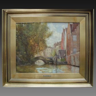 "James W. MILLIKEN (act.1887-1930) "" Bridge at Bruges"" Exhibition Oil Painting"