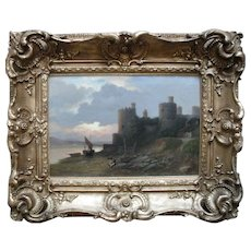 Frank Rawlings OFFER (1847-1932) Conwy Castle at Sunset. Oil Painting.