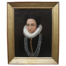 Early Dutch School Portrait 17th/18th Century Oil Painting.