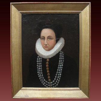 Early Dutch School Portrait 17th/18th Century Oil Painting.