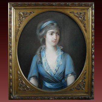 French Pastel 19th Century Portrait