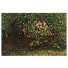 Michael THERKILDSEN (1850-1925) Danish Oil Painting Gathering Hazelnuts.