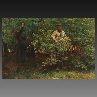 Michael THERKILDSEN (1850-1925) Danish Oil Painting Gathering Hazelnuts.
