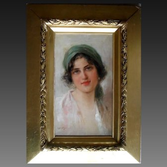 Domenico Forlenza (1880- 1934) Italian Naples School Portrait c1900