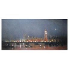 Anthony Robert Klitz (1917 – 2000) Westminster at Dusk. Oil Painting