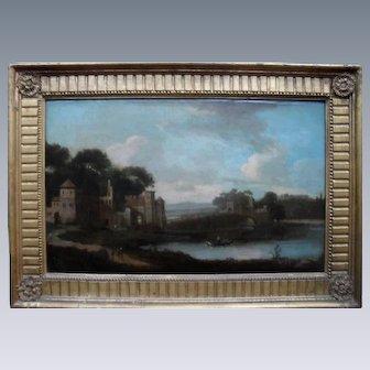 Capriccio Landscape Italian 18th Century Oil Painting.