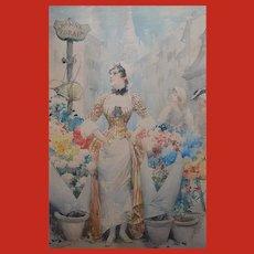 Fabio FABBI (1861-1946) Italian Watercolour Painting Rosina