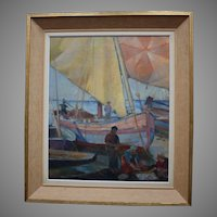 Axel WALLERT (1890-1962) Art Deco 1925 Fishing Boats