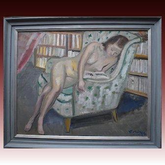 Gustav Gideon Börje (1891-1965) Nude Reading 1943.