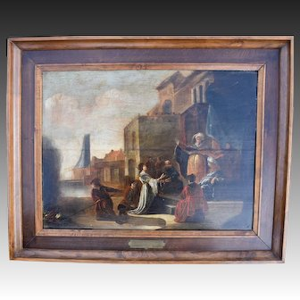 Dutch Golden Age Painting c 1660 Queen Esther. Oil Painting.