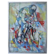 Roger LERSY (1920-2004) French Abstract Expressionist. Cyclist 1950