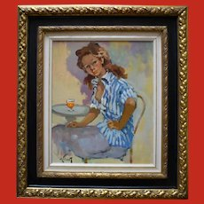 "PIERRE GRISOT, (1911 - 1995) ""At The Cafe"" Post Impressionist"