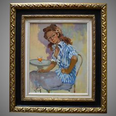 """PIERRE GRISOT, (1911 - 1995) """"At The Cafe"""" Post Impressionist"""