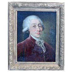 French School Portrait c1760 Louis XV Period Oil Painting