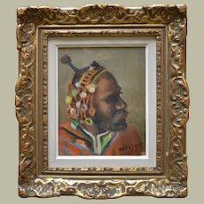 "Gösta NISSJERS (1916-1963) Swedish School 1950""Masai Warrior"""