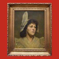 Dutch School Portrait c1850 Oil Painting