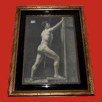 Danish Royal Academy Drawing 1880 Male Nude