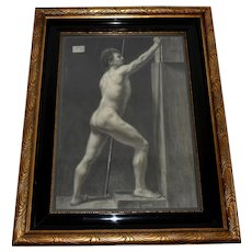 Danish Royal Academy Drawing 1880 Male Nude