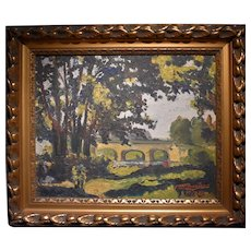 French Art Deco Landscape 1928 Signed Bussiere