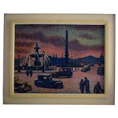 Lucien Maxime ROUBINET (1926)  Paris French Pointilliste Oil Painting