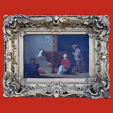 Flemish Genre Painting c1790 with old Christie's Stencil