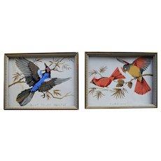 A Pair of Block Printed American Birds 19th Century