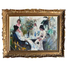 Cafe Scene French School Mid Century Post Impressionist