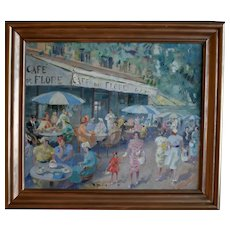 French School  Post Impressionist Café de Flore Paris