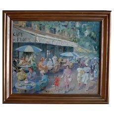 French School  Post Impressionist Café de Flore Paris