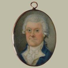 British Modest School Portrait Miniature c1770