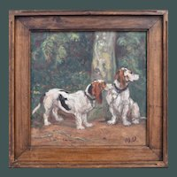 Maurice Emile Vieillard (1867-1947) Basset Hounds Oil Painting