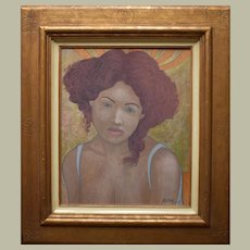"Rémy MONNERET (ROM 1960-2004) ""Sarah"" French Symbolist"