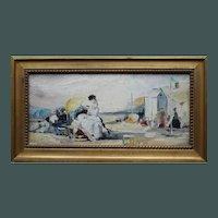 La Belle Époque Elegantes on The Beach Oil Painting French School c1900