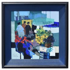 Claude FAUCHERE (b1936) French Abstract Impressionist Flower Market