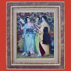 French School Japonisme Oil Painting Initialled JA 1894