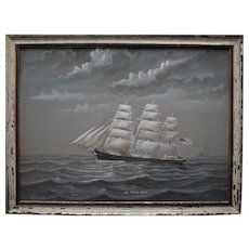 American Clipper White Squall 1861 Pierhead Watercolour Painting