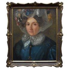 Portrait c1870 Woman in a Floral Bonnet