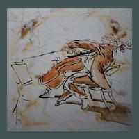 Céline LUST (b1978) The Cellist Oil Painting
