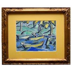LOÏS HUTTON (1893-1972) Avant-Garde Art Deco Watercolour 1920