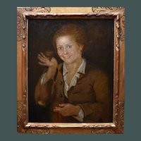 Girl with a Spinning Top c1800 English School Oil Painting