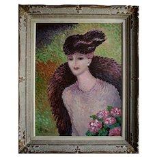 René DECAMP (XX) French School Pointillist Mid Century Oil Painting