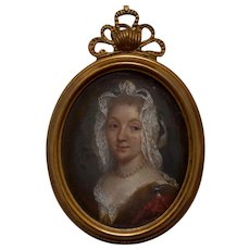 Louise Françoise de Bourbon(1673-1743) Portrait Miniature on Copper